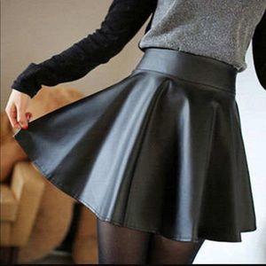 Dresses & Skirts - High Waist Faux Leather Mini Skirt - Black